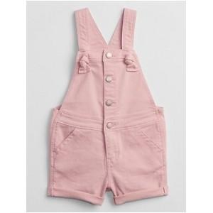 Toddler Pink Denim Shortalls