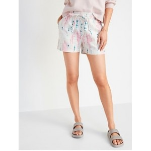 High-Waisted Tie-Dye Linen-Bend Shorts for Women -- 4-inch inseam