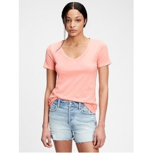 100% Organic Cotton Vintage V-Neck T-Shirt