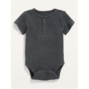 Unisex Rib-Knit Henley Bodysuit for Baby