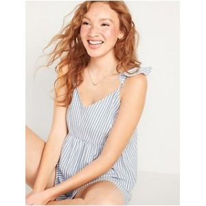 Soft-Woven Flutter-Sleeve Cami Pajama Top for Women