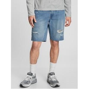 9 Mid Rise Distressed Denim Shorts
