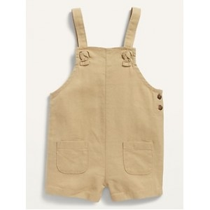 Knotted-Strap Linen-Blend Shortalls for Baby