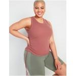 UltraLite Rib-Knit Side-Cinch Cropped Tank Top for Women