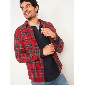 Regular-Fit Built-In Flex Patterned Flannel Shirt for Men