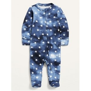 Matching Printed Fold-Over Mitten Footed One-Piece for Baby