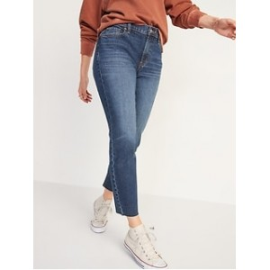 Mid-Rise Boyfriend Straight Cut-Off Jeans for Women
