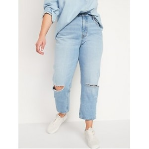 High-Waisted Slouchy Straight Cropped Ripped Jeans for Women