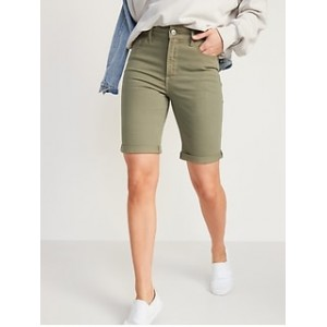 High-Waisted Pop-Color Bermuda Jean Shorts for Women -- 9-inch inseam